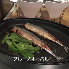 オーバルホットプレート ブラック | BRUNO(ホットプレート)を使ったクチコミ「ホットプレートで魚や肉を焼くと、煙もあま…」