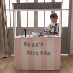 ままごとキッチンDIY/カラーボックスリメイク/ニトリカラーボックス/ニトリ/子供部屋/おうち/... 金具を外せば対面キッチン風になるのでお店…