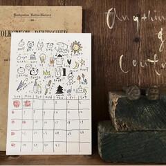 木工雑貨/ディスプレイ/ポストカード/イラスト/カレンダー2019/カレンダー/... らくがき屋gamiちゃんの1月のカレンダ…