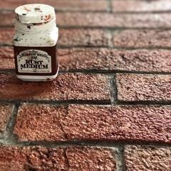 ターナー色彩 ミルクペイント ラストメディウム レッドブラウン/ダークブラウン 各100mL 2種類 錆 さび 古びたアンティーク ジャンク 水性塗料 DIY | ターナー(ペンキ、塗料)を使ったクチコミ「レンガ造形した漆喰にラストメディウムでペ…」(2枚目)