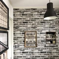 洗面所インテリア/洗面所/シール壁紙/プレミアムデコシート/ルームファクトリー/壁紙DIY/... 洗面所のレンガの壁紙は貼って剥がせるルー…