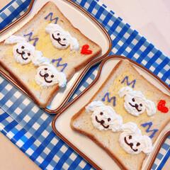 暮らし/朝ごはん/トースト/愛犬 今朝もまた、 ワンコトースト。 しつこい…
