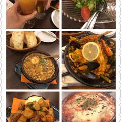 ご近所/バスク風チーズケーキソフト/ミニストップ/ガーリックマヨポテト/アヒージョ/ラザニア/... 週末はスペイン料理が続きました。 たまた…