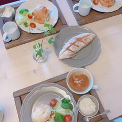 ベランダ菜園/友人の/手づくりパン/モーニング/おうちごはん/暮らし 朝ごはん🥖☕️  練乳バターフランス 美…