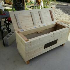 ベンチ/靴の収納/DIY 収納付きベンチ🎵  今度はムスメに作って…