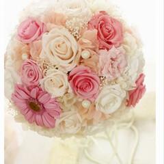 ピンク 結婚式を挙げたときに手作りしたプリザーブ…