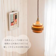 カバー/ライト/ランプシェード/ペンダントライト/シーリングライト/机/... ふわっと広がる 優しいあかり  木の風合…(4枚目)