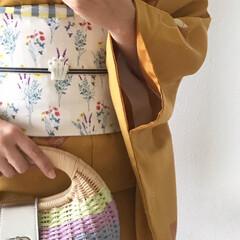 着物/100均/ハンドメイド/おでかけ/ファッション 着物のキロク👘 ムーミン展の為、帯と帯留…(2枚目)