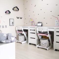 学習机/IKEA/ウォールステッカー/100均/雑貨/暮らし 子供部屋インテリア IKEAの学習机、シ…