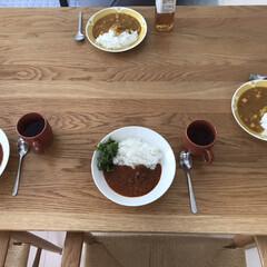 Arabia アラビア スンヌンタイ Sunnuntai プレート 26cm   アラビア(皿)を使ったクチコミ「休日のお昼はレトルト率高め! 無印のカレ…」