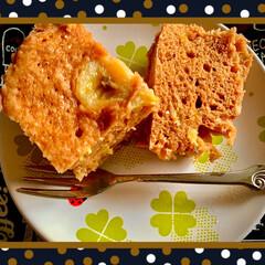 レンジ調理/簡単レシピ 久々にバナナミルク蒸しパン。 もぉちょい…
