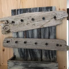 キーフック/雑貨/DIY/流木 キーフックDIY🗝 いつも使う鍵とスペア…