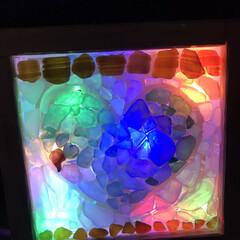 デコレーションライト/透明下敷き/シーグラス/ダイソー/100均/DIY 間違えたぁ💦 100均でライトを買って来…