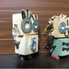 sawryさん/部品/ロボットくん/端材/DIY/収納/... sawryさんのロボットくんが可愛くて …(5枚目)