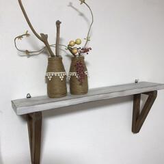 麻紐/空き瓶/シェルフ/DIY/雑貨 この壁掛シェルフはシンプルで よいかと・…