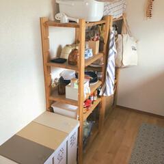 IKEA イケア ELLY キッチン クロス ホワイト ブルー 4枚セット 20172444 | イケア(その他キッチン、日用品、文具)を使ったクチコミ「引っ越したばかりで まだ食器棚を買う予定…」