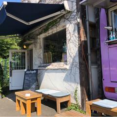 横浜/チャイ/サンドイッチ/カフェ/ワゴン/DIY/... かわいいワゴンカフェ 🚐✨ たまには目立…
