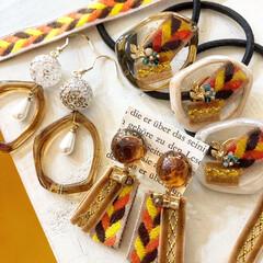 Handmade/手作り/記録写真/ファッションコーデ/ものづくり/resin/... 秋冬アクセサリー。 オレンジ、茶色、黄色…