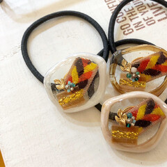 Handmade/手作り/記録写真/ファッションコーデ/ものづくり/resin/... 秋冬アクセサリー。 オレンジ、茶色、黄色…(3枚目)