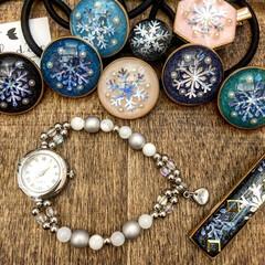 アクセサリー/手仕事のある暮らし/雪の結晶ヘアゴム/雪の作品/イベント/雪の結晶/... 冬の装いに合いそうなブレスレットウォッチ…