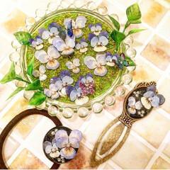 北海道/レジン作品/レジンアクセサリー/レジン/写真/記録/... お花の絵皿とペンダント☺︎ 飾れる絵皿と…(2枚目)