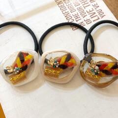 Handmade/手作り/記録写真/ファッションコーデ/ものづくり/resin/... 秋冬アクセサリー。 オレンジ、茶色、黄色…(4枚目)
