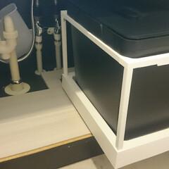 IKEA収納/DIY/収納/ハンドメイド/リフォーム/イケア/... IKEAのキャスターで洗面台下スッキリ