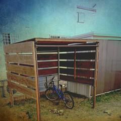 エクステリア/トタン屋根/単管パイプ/DIY/自転車小屋/リミアな暮らし