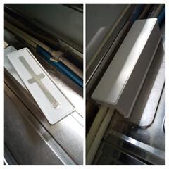 目隠しアイテム/リメイク/便利ボックス/セリア購入品/DIY/おうち時間/... シンクを横切る食洗機の排水ホースが邪魔で…