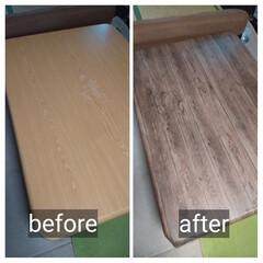 テーブルリメイク/リメイクシート/おうち時間 こたつテーブルの天板にリメイクシートを貼…