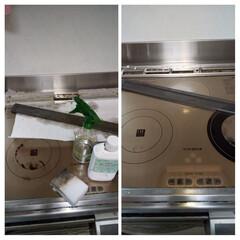 IHクッキングヒーター/メラミンスポンジ/セスキスプレー/キッチン掃除/そうじ/おうち時間 IHコンロの掃除をしました。 月に一度の…