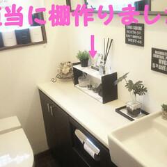 棚作り/棚DIY/トイレのインテリア/トイレ雑貨/トイレインテリア/トイレ/... とりあえずトイレ少し変えました😁  一枚…