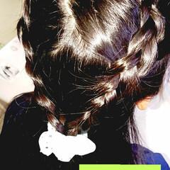 簡単ヘアアレンジ/5分でできる/小学生女子/記録用 本日のヘアアレンジ  編み込みハーフアッ…