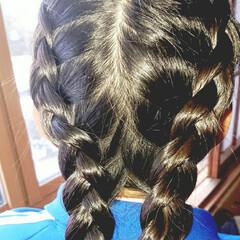 5分でできる/簡単ヘアアレンジ/小学生女子/記録用 本日のヘアアレンジ  裏編み込みからの三…