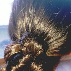 5分でできる/簡単ヘアアレンジ/小学生女子/記録用 本日のヘアアレンジ  お団子ローポニー …