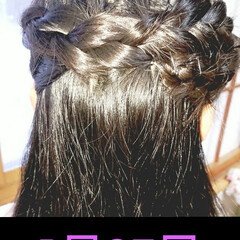 5分でできる/簡単ヘアアレンジ/小学生女子/記録用 本日のヘアアレンジ  片編み込みハーフア…