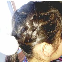 5分でできる/簡単ヘアアレンジ/小学生女子/記録用 本日のヘアアレンジ  編み込みローポニー…