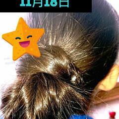 5分でできる/簡単ヘアアレンジ/小学生女子/記録用 本日のヘアアレンジ 4くるりんぱまとめヘ…