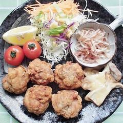 豚コマ/からあげ/エリンギ/モヤシ/ワンプレート/おうちカフェ 豚コマのから揚げ・エリンギのチーズ焼き・…