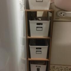 隙間収納/セリア 洗濯機と洗面台の隙間収納にセリアのアレを…