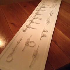 寿司屋のネタ札掛け/ホワイトインテリア/ロープ/ノットボード/海/船🚢/... ロープでノットボード作成! トイレの照明…