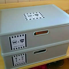 インボックス/ラベル自作/DIY収納/収納 DIYグッズを入れているインボックスにラ…