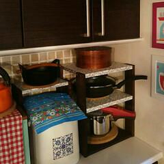 鉄鍋/おひつ/圧力鍋/スッキリ収納/簡単/お気に入り/... 先日の棚の横に増設しました。