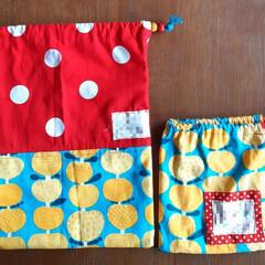 保育園/名前入り/kipps/colorful/カラフル/巾着袋/... 久しぶりのチクチクは末娘のパジャマ用の巾…