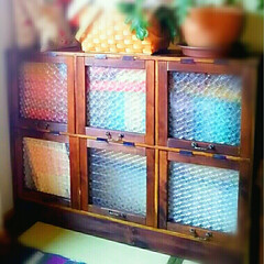 アンティーク風/目隠し/salut!/ハンドル/ガラスフィルム/オイルステイン/... 以前DIYした本棚に扉を付けました。