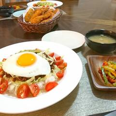 タコライス/おうちカフェ/おうちごはん/目玉焼き おうちカフェごはん タコライス→牛挽肉に…