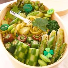 単色弁当/緑/おしゃ弁/わっぱ弁当/曲げわっぱ弁当/ジェノベーゼ/... 爽やかなグリーンでまとめたお弁当 ジェノ…