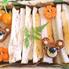 くまさん/デコ弁/キャラ弁/ランチボックス/可愛い/サンドイッチ/... おはようございます 昨日友人宅のランチに…(3枚目)