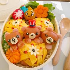オムライス弁当/オベンタグラム/おうちごはん/アレンジ/飾り切り/可愛い/... おはようございます(^^) 今日のお弁当…