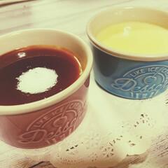 朝ごはん/お菓子/プリン/ケーキ/ダイソー/100均 おはようございます🌞🌞  朝からプリン食…